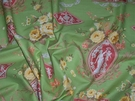 DESIGNER SCALAMANDRE NEOCLASSICAL CAMEO ARABESQUE TOILE GREEN ROSE SAMPLE