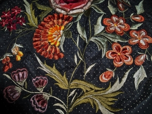 DESIGNER SCALAMANDRE OLD WORLD WEAVERS EMBROIDERED SILK JACQUARD FABRIC�10 YARDS BLACK PERSIMMONS MULTI