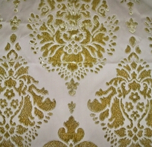 DESIGNER TAPESTRIA ROYALTY MEDALLIONS SILK CUT VELVET BROCADE FABRIC 10 YARDS JADE