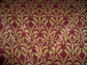DESIGNER TRELLIS MANOR FLEUR DE LIS RENAISSANCE CUT VELVET FABRIC 10 YARDS GOLD BURGUNDY
