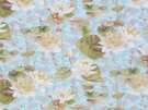 DESIGNER TROPICAL WATER LILIES KOI FISH FABRIC BLUE GREEN OYSTER MULTI