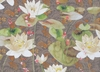 DESIGNER TROPICAL WATER LILIES KOI FISH FABRIC BROWN ROSE GREEN MULTI