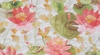 DESIGNER TROPICAL WATER LILIES KOI FISH FABRIC CORAL ROSE GREEN MULTI
