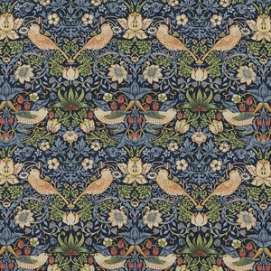 DESIGNER WM MORRIS ARTS & CRAFTS BIRDS TOILE FABRIC INDIGO BLUE MULTI