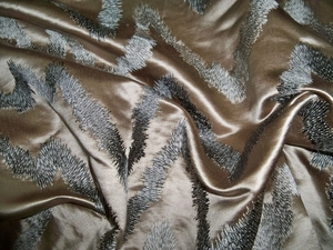 DONGHIA HOLLYWOOD EMBROIDERED ZIG ZAG SILK SATIN FABRIC RODEO SILVER / 5 YARD MIN.