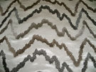DONGHIA HOLLYWOOD EMBROIDERED ZIG ZAG SILK SATIN FABRIC WILSHIRE WHITE/ 5 YARD MIN.