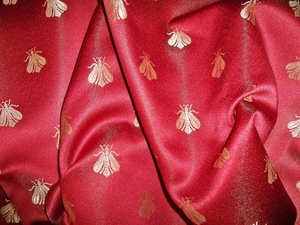 ELEGANT NEOCLASSICAL BEE DAMASK FABRIC IMPERIAL RED  CHAMPAGNE