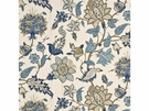 G P & J Baker BAKER'S INDIENNE JACOBEAN FABRIC INDIGO TAUPE