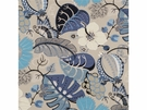 G P & J BAKER BOTANICAL GARDEN EMBROIDERED LINEN FABRIC INDIGO