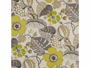G P & J BAKER BOTANICAL GARDEN EMBROIDERED LINEN FABRIC PISTACHIO