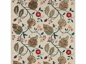G P & J BAKER CALTHORPE RED OLIVE TEAL FABRIC