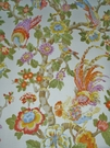 G P & J BAKER CHANTICLEER ROOSTER  LINEN FABRIC IVORY YELLOW  MULTI