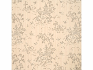 G P & J Baker CHINESE BRIDGES LINEN TOILE FABRIC CHALK