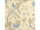 G P & J Baker ELINOR'S CHINES BIRD LINEN FABRIC BLUE