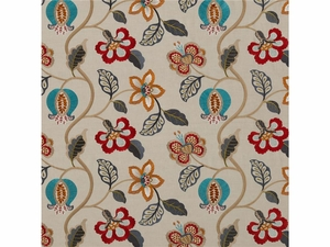 G P & J BAKER ELVASTON RED SIENNA TEAL FABRIC