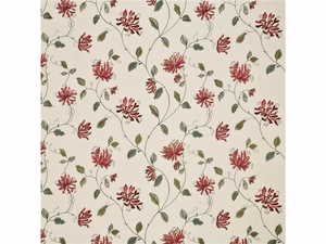 G P & J Baker HONEYSUCKLE EMBROIDERY LINEN FABRIC RED GREEN