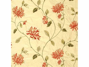 G P & J Baker HONEYSUCKLE EMBROIDERY SILK FABRIC RED GREEN