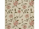 G P & J Baker LONGFORD EMBROIDERY LINEN FABRIC CORAL OLIVE