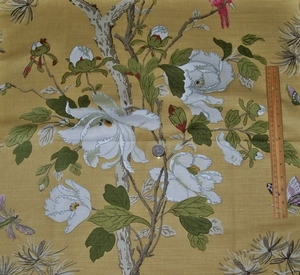 G P & J BAKER TREE PEONY BIRDS LINEN PRINT FABRIC YELLOW IVORY