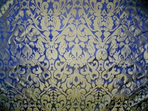 SILK LOOM INC MARSEILLE SILK DAMASK FABRIC BRASS ON NILE BLUE