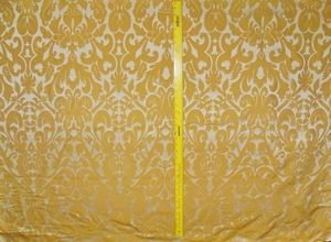 SILK LOOM INC MARSEILLE SILK DAMASK FABRIC INCA GOLD ON VANILLA CREAM