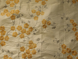 GP & J BAKER BLOSSOM SILK EMBROIDERED FABRIC GOLD CREAM