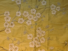 GP & J BAKER BLOSSOM SILK EMBROIDERED FABRIC GREY YELLOW