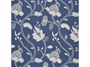GP & J BAKER CRESSIDA EMBROIDERED LINEN FABRIC DELFT