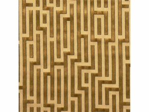 GP & J BAKER FRETWORK GEOMETRIC VELVET FABRIC GOLD