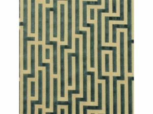 GP & J BAKER FRETWORK GEOMETRIC VELVET FABRIC TEAL