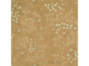 GP & J BAKER HONESTY EMBROIDERED SILK FABRIC BRONZE