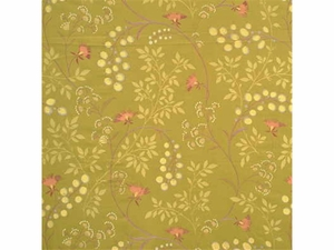 GP & J BAKER HONESTY EMBROIDERED SILK FABRIC LIME
