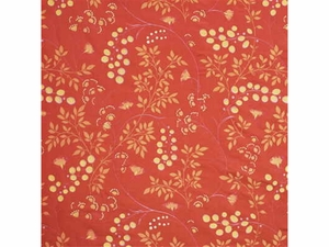 GP & J BAKER HONESTY EMBROIDERED SILK FABRIC TERRACOTTA