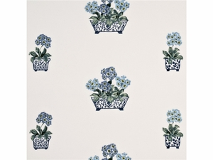GP & J BAKER LIFESTYLES AURICULAS EMBROIDERED FABRIC INDIGO