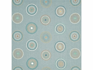 GP & J BAKER LIFESTYLES MILLSTONES EMBROIDERED CIRCLES FABRIC AQUA TEAL
