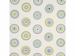 GP & J BAKER LIFESTYLES MILLSTONES EMBROIDERED CIRCLES FABRIC BLUE MAUVE
