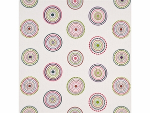 GP & J BAKER LIFESTYLES MILLSTONES EMBROIDERED CIRCLES FABRIC PINK GREEN