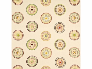 GP & J BAKER LIFESTYLES MILLSTONES EMBROIDERED CIRCLES FABRIC SPICE GREEN