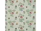 GP & J BAKER MEREWORTH EMBROIDERED LINEN FABRIC AQUA