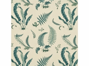 GP & J BAKER TROPICAL FERNS FABRIC AQUA GREEN CREAM