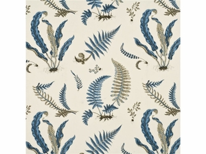 GP & J BAKER TROPICAL FERNS FABRIC BLUE INDIGO AMBER CREAM