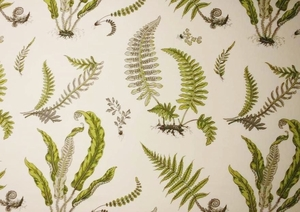 GP & J BAKER TROPICAL FERNS FABRIC LIME GREEN GREY CREAM