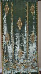 ITALIAN CARLOTA EMBROIDERED VELVET FABRIC DRAPERY PANEL BLUE GOLD