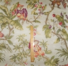 "ITALIAN ""SCIMMIE CINESI"" WHIMSICAL CHINOISERIE MONKEYS LAMPAS DAMASK FABRIC CREAM MULTI"