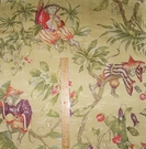 "LEE JOFA KRAVET COUTURE ITALIAN ""SCIMMIE CINESI"" WHIMSICAL CHINOISERIE MONKEYS LAMPAS DAMASK FABRIC YELLOW GOLD  MULTI 20 YARD BOLT"