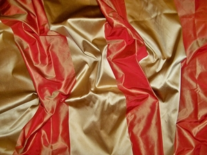 KOPLAVITCH AQUINAS SATIN SILK STRIPE DAMASK FABRIC PERSIMMONS GOLD