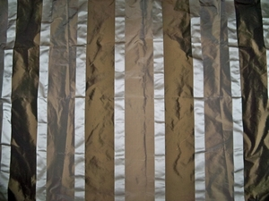 KOPLAVITCH BEAUVILLE SILK SATIN TAFFETA STRIPES FABRIC  BROWN CREAM MOCHA