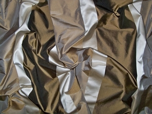 KOPLAVITCH TAFFETA STRIPES FABRIC CREAM MOCHA 50 YARD BOLT