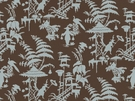 KRAVET COUTURE / BARBARA BARRY  INDO NIGHT LINEN FABRIC HOISIN