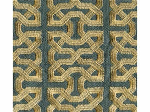 KRAVET COUTURE CEYLON KEY EMBOIDERED LINEN FABERIC SOUTH SEAS
